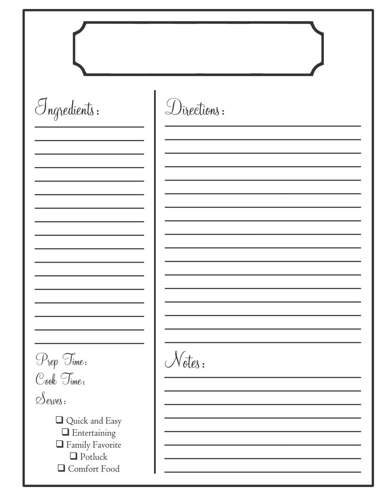 Recipe Template for Word Home Need to Know