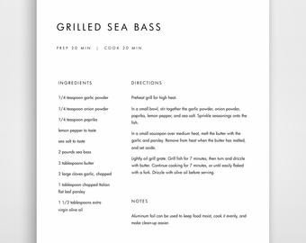 Recipe Template for Word Recipe Book