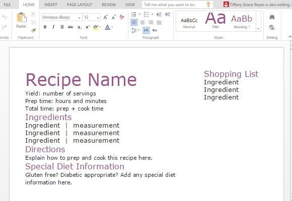 Recipe Template for Word Recipe with Shopping List Template for Word