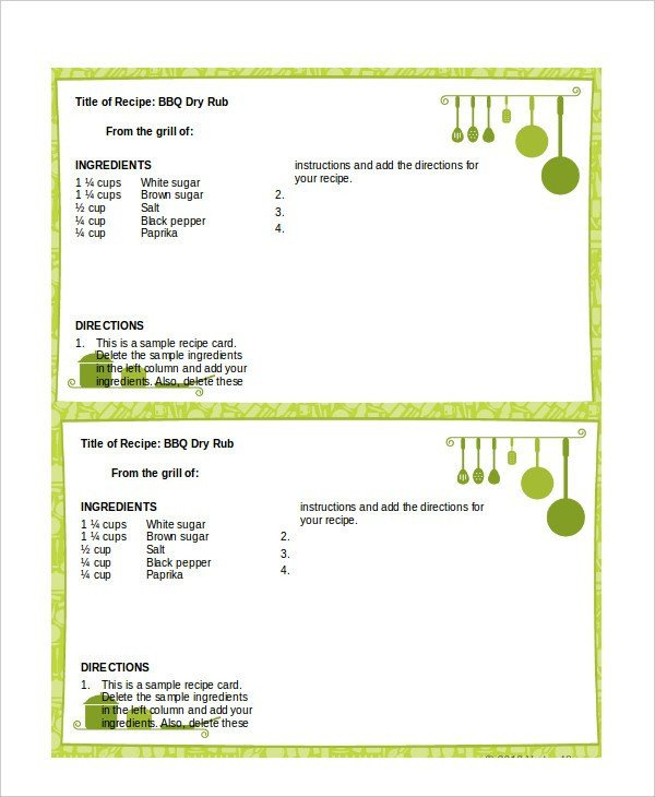 Recipe Template for Word Word Template Recipe Card – Free Printable Recipe Card