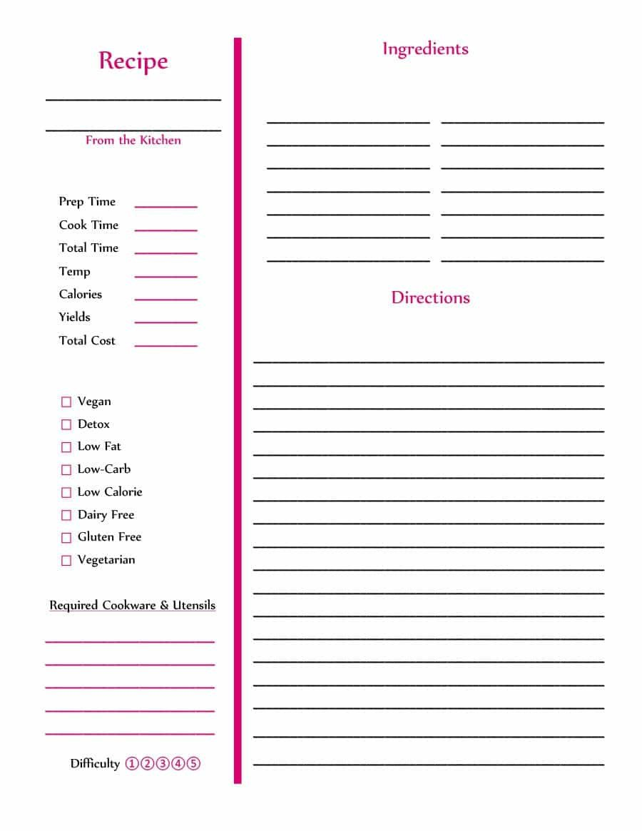 Recipe Templates for Pages 44 Perfect Cookbook Templates [ Recipe Book & Recipe Cards]