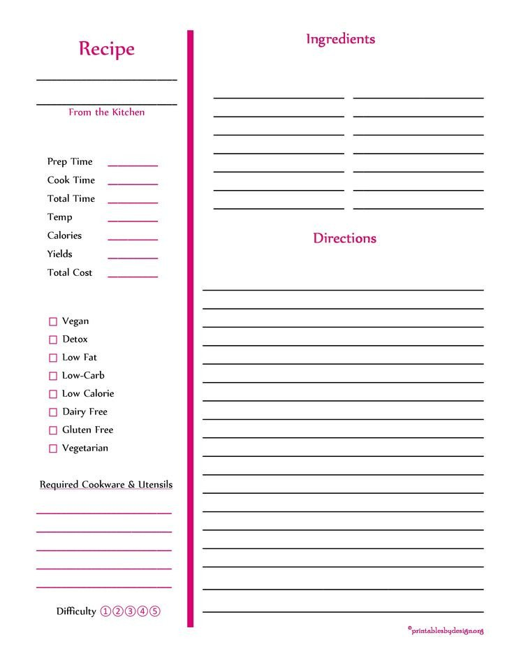 Recipe Templates for Pages Red Recipe Card Full Page Cooking Stuff