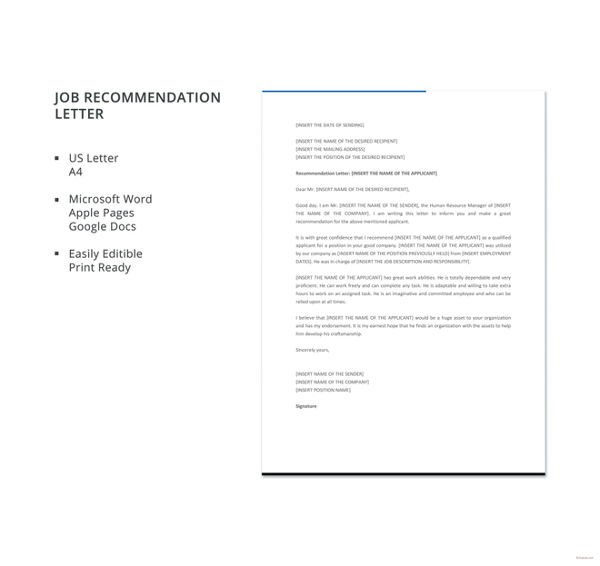 Recommendation Letter Template for Job 10 Employee Re Mendation Letter Template 10 Free