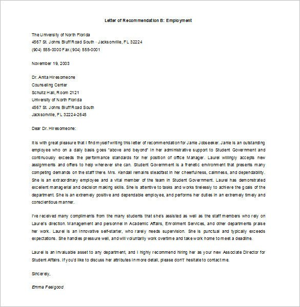 Recommendation Letter Template for Job 10 Job Re Mendation Letter Templates Doc