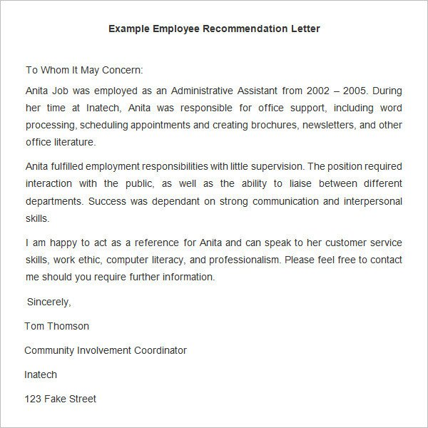 Recommendation Letter Template for Job 18 Employee Re Mendation Letters Pdf Doc