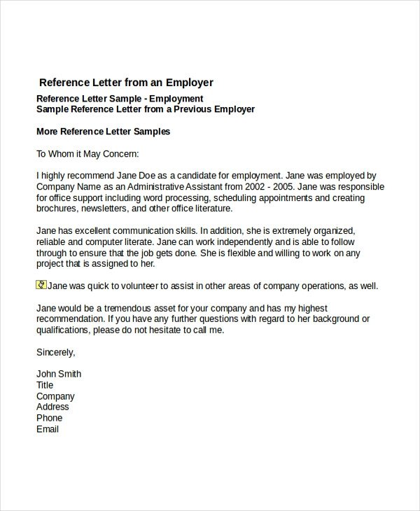 Recommendation Letter Template for Job 7 Job Reference Letter Templates Free Sample Example