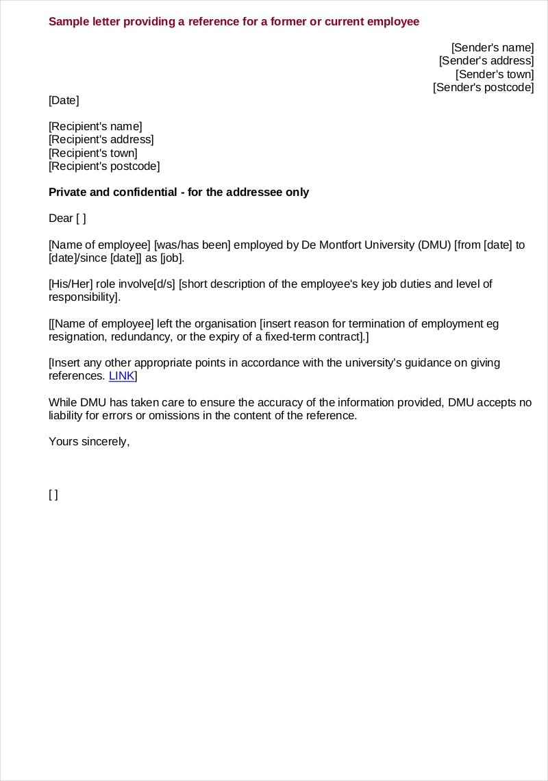 Recommendation Letter Template for Job 9 Employee Reference Letter Examples & Samples In Pdf