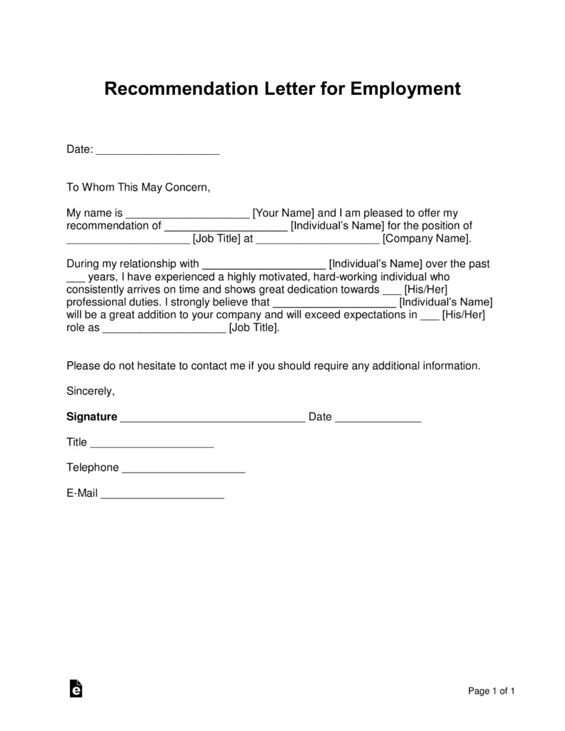 Recommendation Letter Template for Job Free Job Re Mendation Letter Template with Samples
