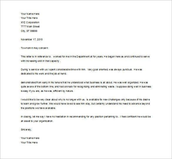 Recommendation Letter Template for Job Job Re Mendation Letter – 8 Free Word Excel Pdf