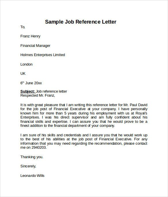 Recommendation Letter Template for Job Job Reference Letter 7 Free Samples Examples & formats