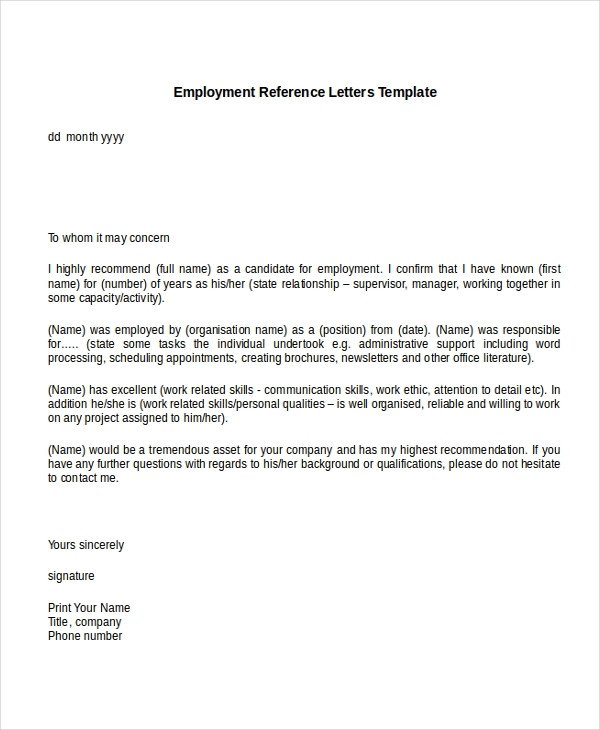 Recommendation Letter Template for Job Testimonial Letter Samples