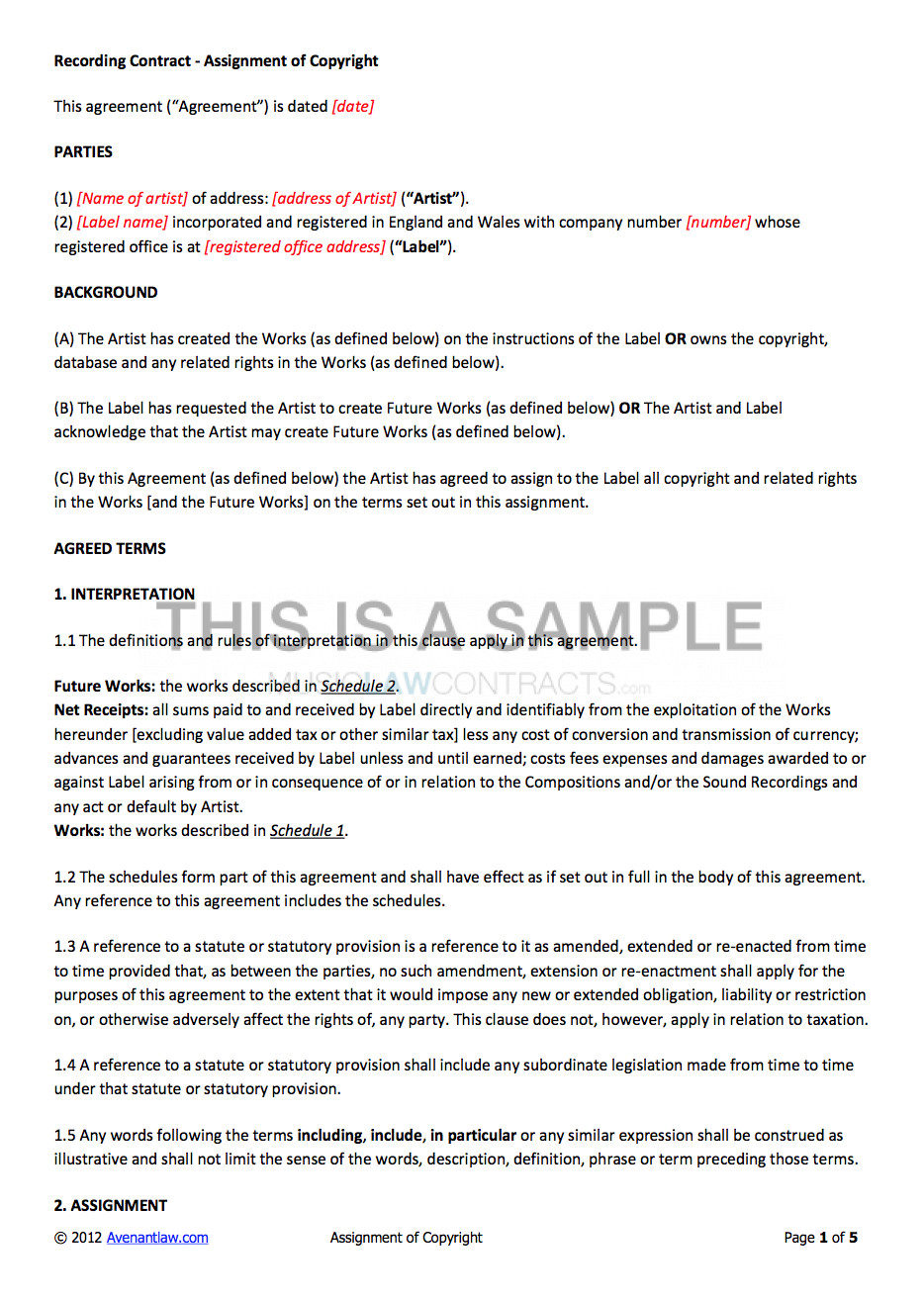 Record Label Contract Template Non Exclusive Recording Contract Template