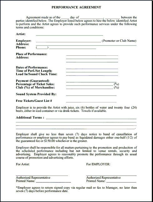 Record Label Contract Template Performance Contract Example