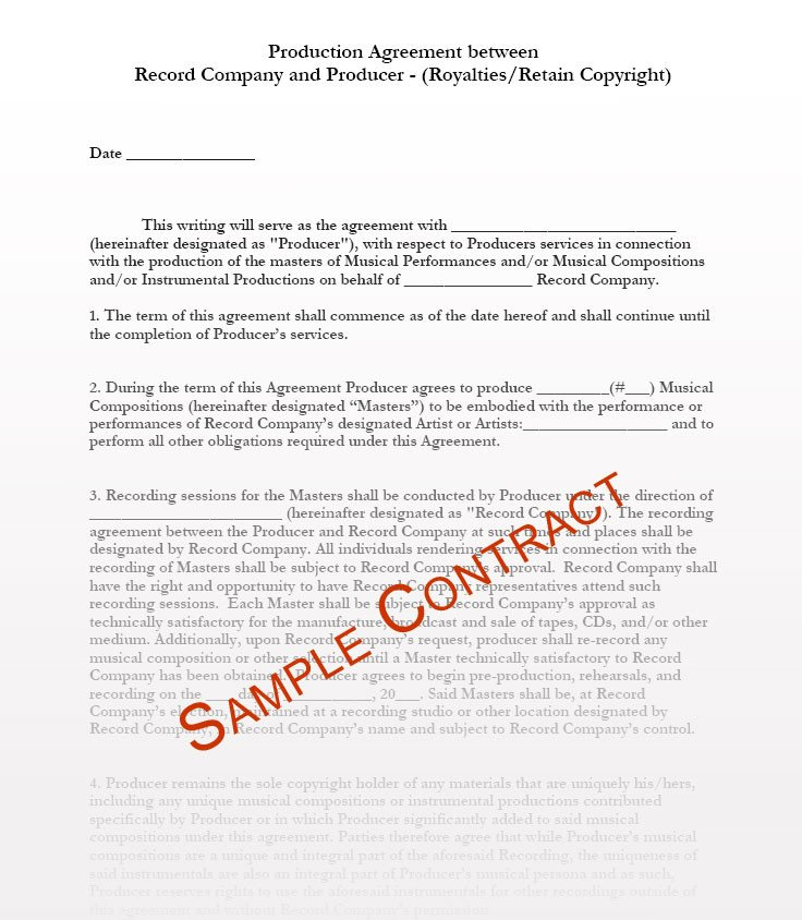 Record Label Contract Template Record Label Contract Template
