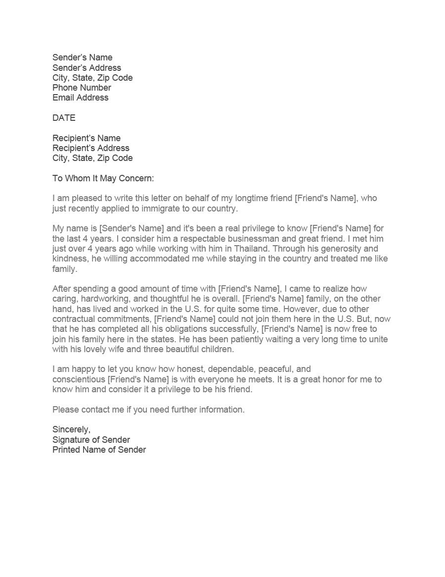 Reference Letter for Immigration 36 Free Immigration Letters Character Reference Letters