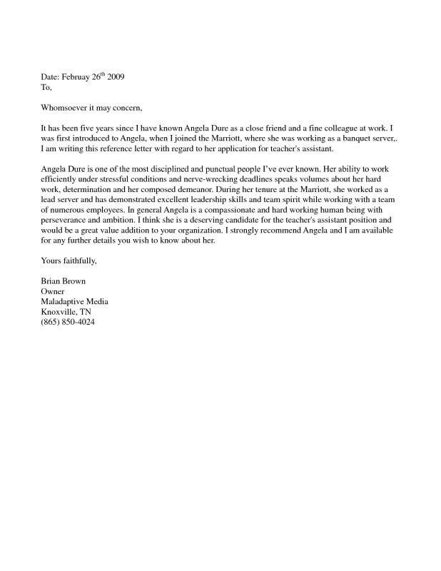 Reference Letter for Immigration Letter Re Mendation for Immigration