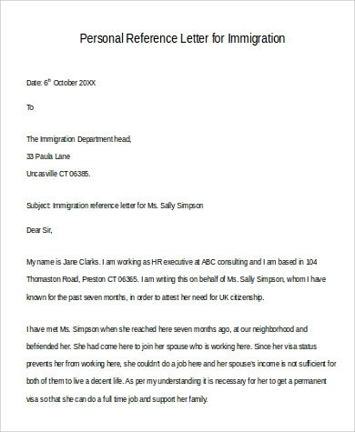 Reference Letter for Immigration Sample Of Personal Reference Letter 9 Examples In Word Pdf