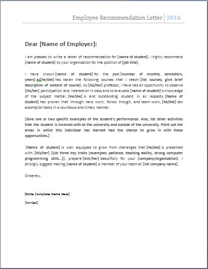 Reference Letter Templates Word Employee Re Mendation Letter … Nats