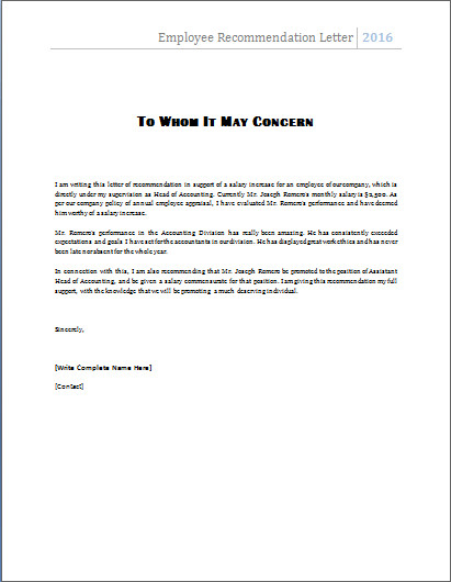 Reference Letter Templates Word Ms Word Employee Re Mendation Letter Template