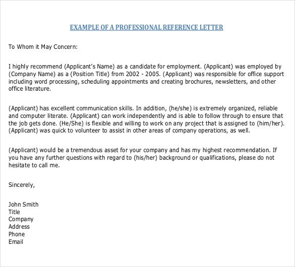 Reference Letter Templates Word Reference Letter Templates – 18 Free Word Pdf Documents