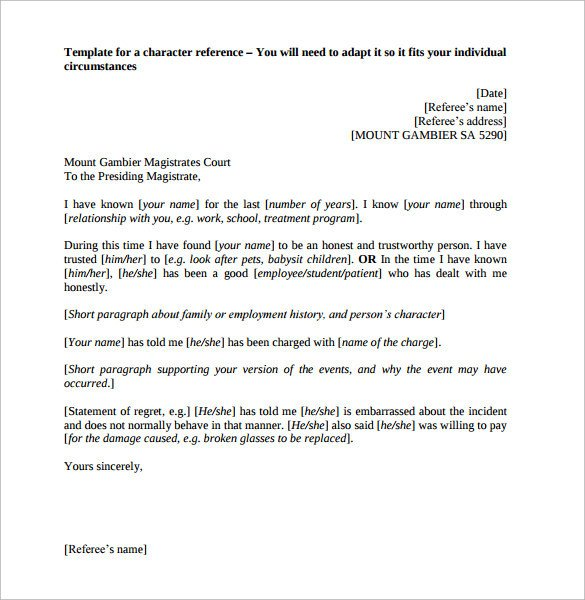 Reference Letter Templates Word Sample Character Reference Letter 9 Documents In Pdf Word