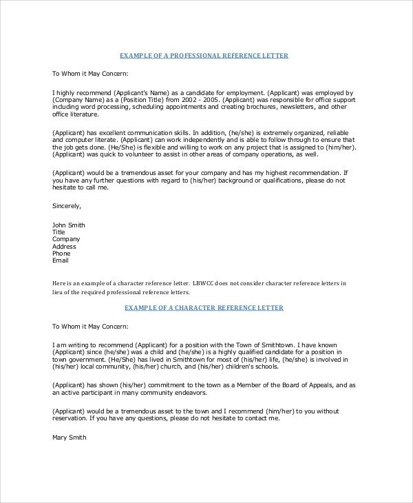 Reference Letter Templates Word Sample Professional Reference Letter 6 Documents In Pdf