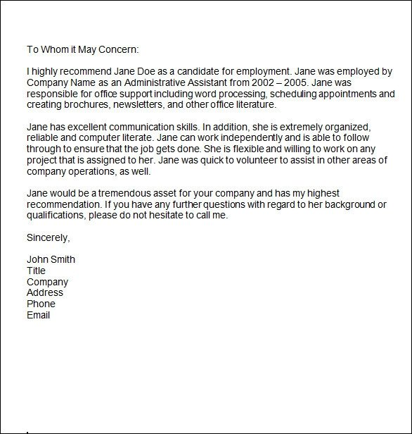 Reference Letter Templates Word Sample Reference Letter 14 Free Documents In Word