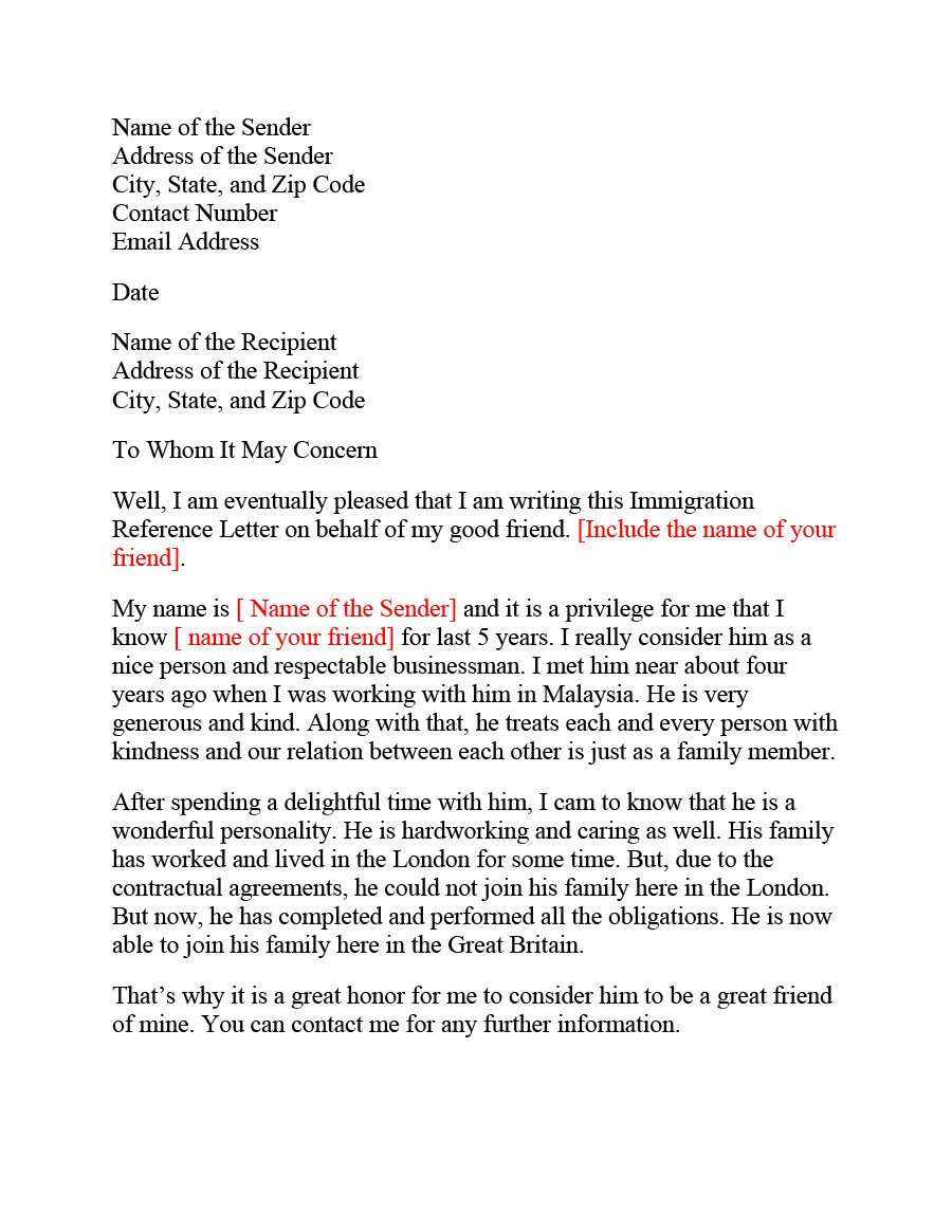 Reference Letters for Immigration 36 Free Immigration Letters Character Reference Letters