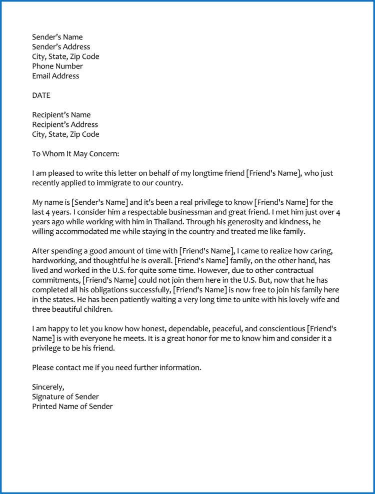 Reference Letters for Immigration Good Moral Character Letter for Immigration Samples
