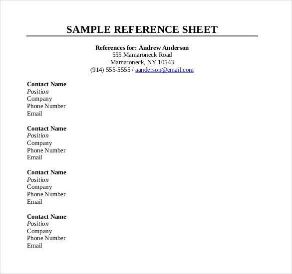 Reference Sheet for Resume Template 10 Reference Sheet Templates