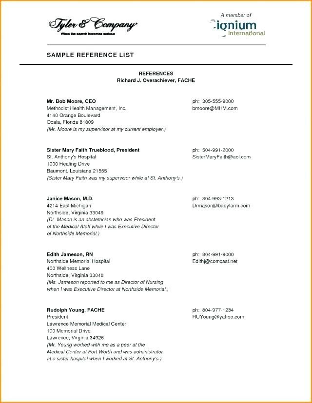 Reference Sheet for Resume Template 15 References Section Of Resume