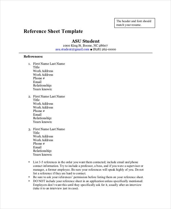 Reference Sheet for Resume Template 33 Sheet Templates Free Sample Example format
