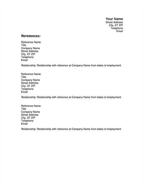 Reference Sheet for Resume Template Resumes and Cover Letters Fice