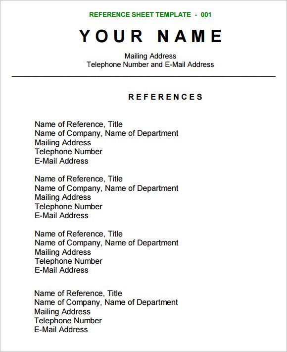 Reference Sheet for Resume Template Sample Reference Sheet 12 Examples format