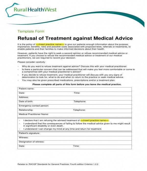Refusal Of Treatment form 3 Against Medical Advice forms Pdf