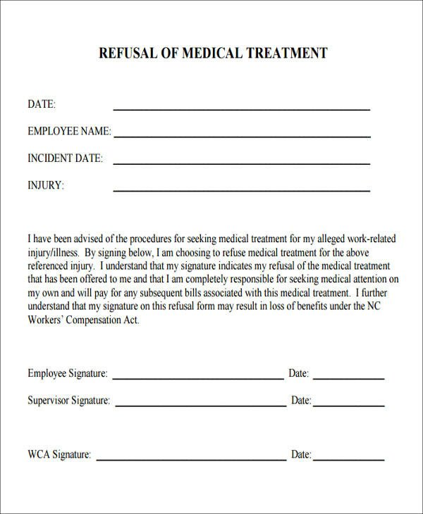 Refusal Of Treatment form 46 Free Medical forms
