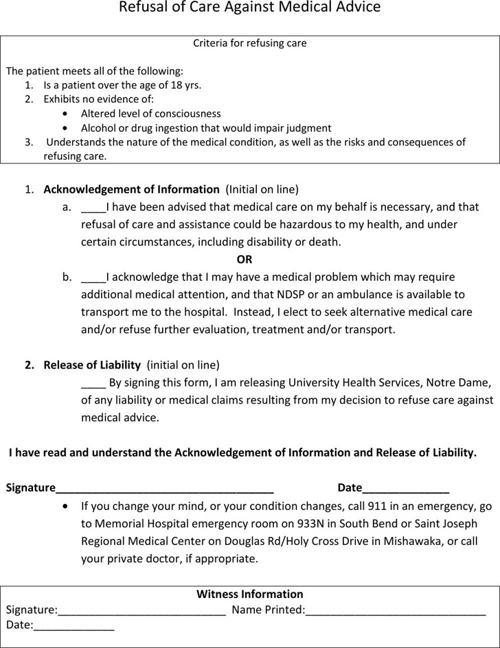 Refusal Of Treatment form Against Medical Advice Template Free Template Download