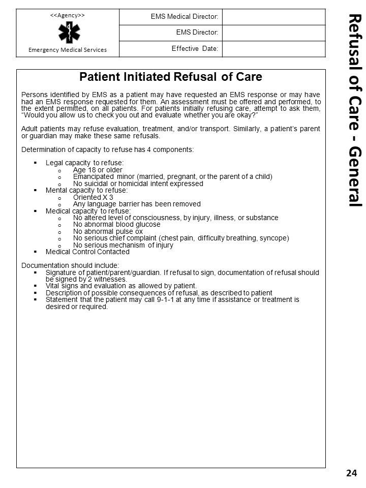 Refusal Of Treatment form Emergency Medical Services Prehospital Clinical Operating