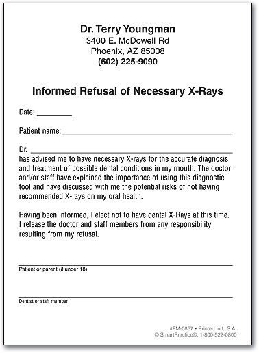 Refusal Of Treatment form Refusal Of Necessary X Rays