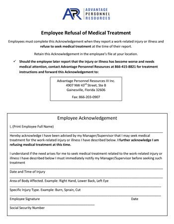 Refusal Of Treatment form Workers Pensation & Risk Management Client forms