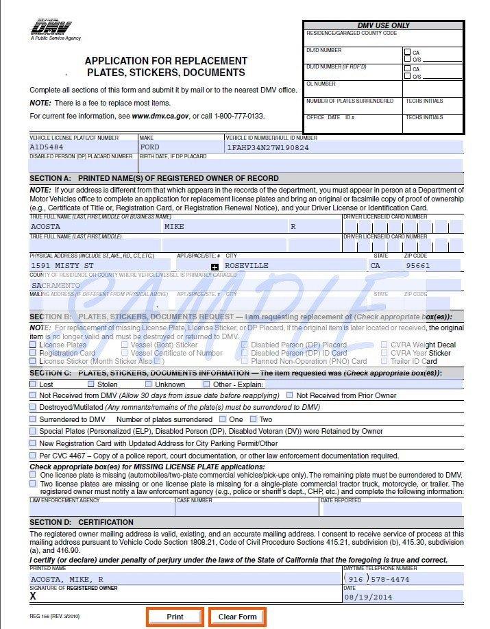 Reg 262 Template 27 Of California Dmv Document Template