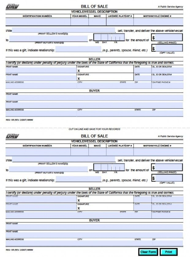 Reg 262 Template Free California Dmv Bill Of Sale Reg 135