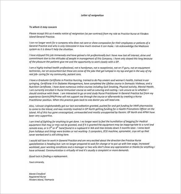 Registered Nurse Resignation Letter 11 Hospital Resignation Letter Samples and Templates