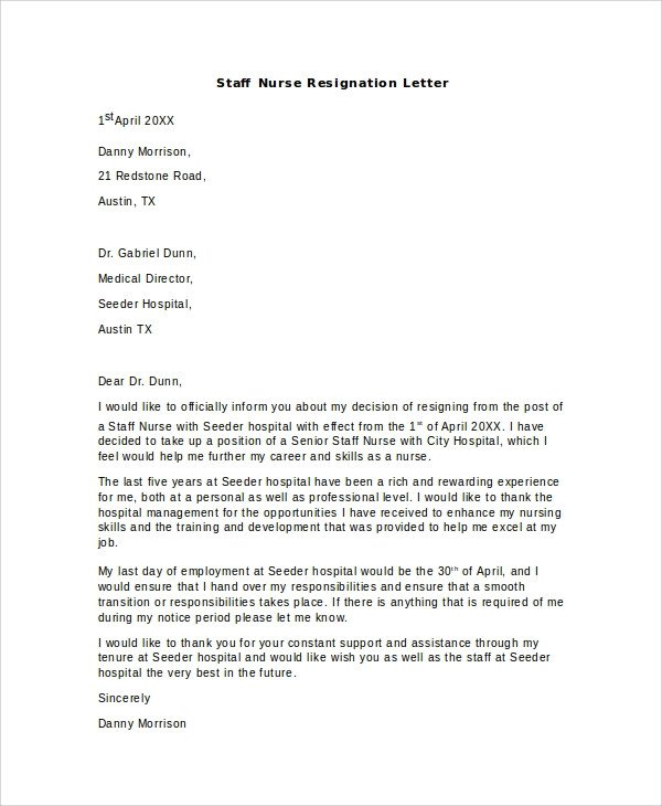Registered Nurse Resignation Letter 11 Sample Nursing Resignation Letters Pdf Word