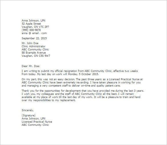 Registered Nurse Resignation Letter 11 Simple Resignation Letter Templates – Free Sample