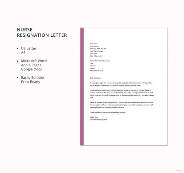 Registered Nurse Resignation Letter 13 formal Resignation Letter Template Free Word Excel