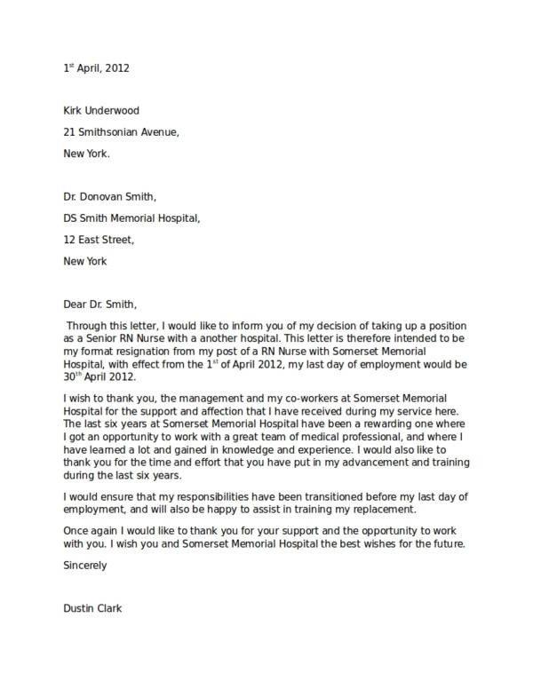 Registered Nurse Resignation Letter 13 Nurse Resignation Letter Samples and Templates Pdf Word