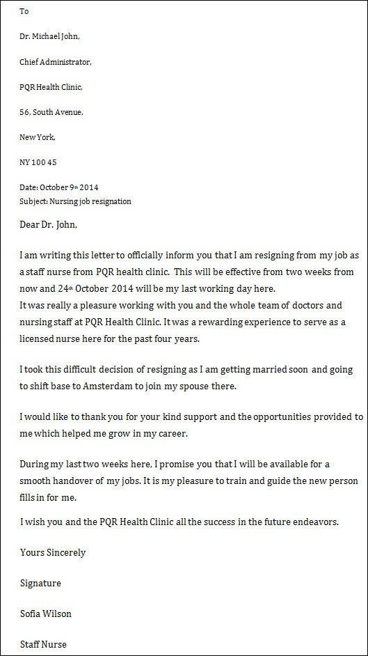 Registered Nurse Resignation Letter 9 Nursing Resignation Letters Doc Pdf