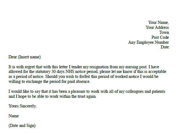 Registered Nurse Resignation Letter formal Resignation Letter for Nurse Learnist