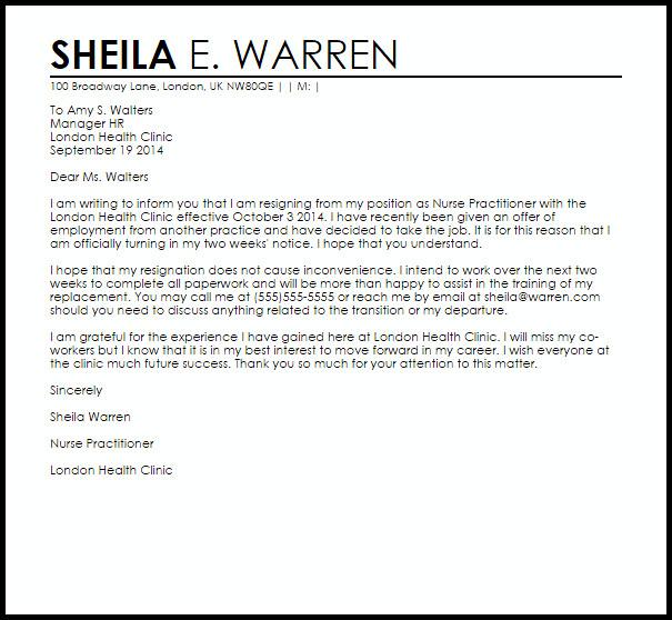 Registered Nurse Resignation Letter Nurse Practitioner Resignation Letter Example